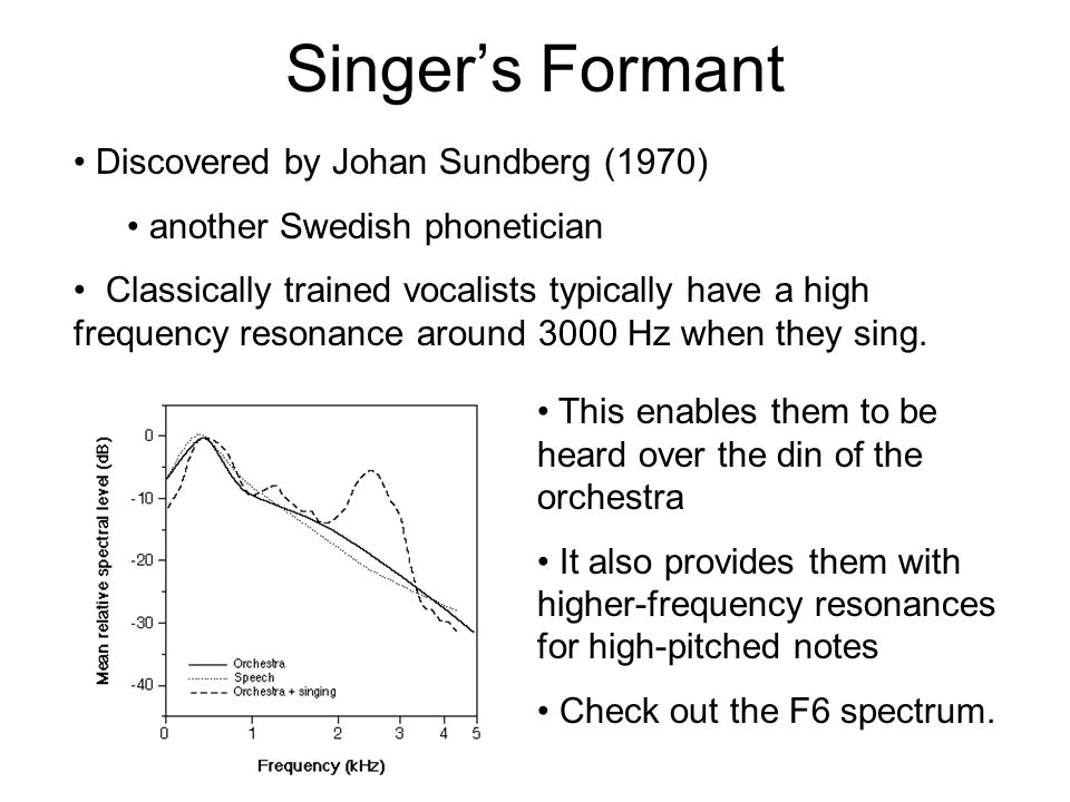 Implications Are there any potential problems with singing this high? F1 (the first formant frequency) of most vowels is generally below 1000 Hz--even