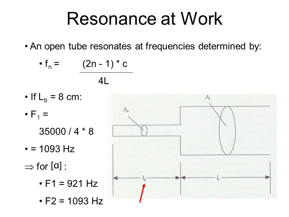 Resonance at Work An open tube resonates at frequencies determined by: f n = (2n - 1) * c 4L If L f = 9.5 cm: F 1 = 35000 / 4 * 9.5 = 921 Hz