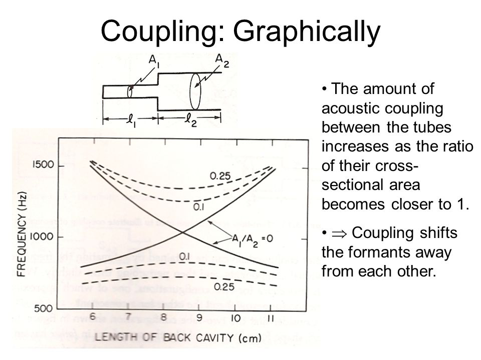 "Coupling The actual formant values are slightly different from the predictions because the tubes are acoustically coupled. = The ""closed at one end, o"