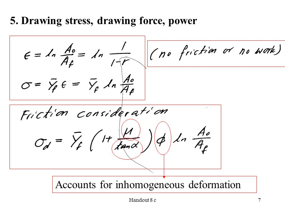 Handout 8 c7 5. Drawing stress, drawing force, power Accounts for inhomogeneous deformation