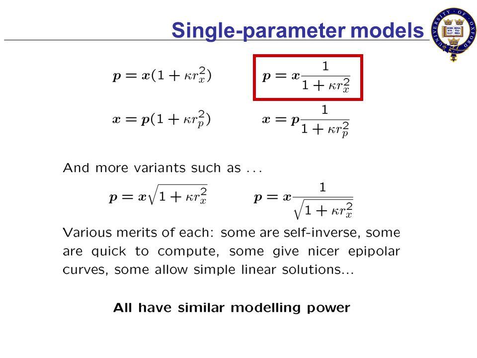 Modelling lens distortion x: x ero x ed no x ious e x perimental artifa x p: p erfect p inhole p erspective p ure x p p x KnownUnknown