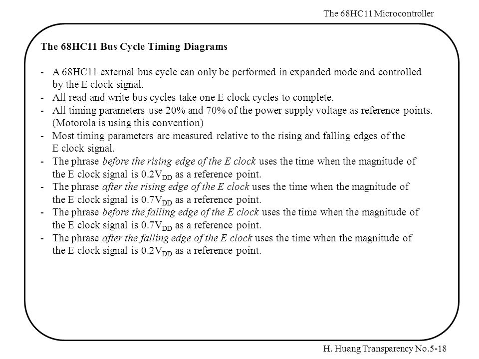 H. Huang Transparency No.5-18 The 68HC11 Microcontroller The 68HC11 Bus Cycle Timing Diagrams -A 68HC11 external bus cycle can only be performed in ex