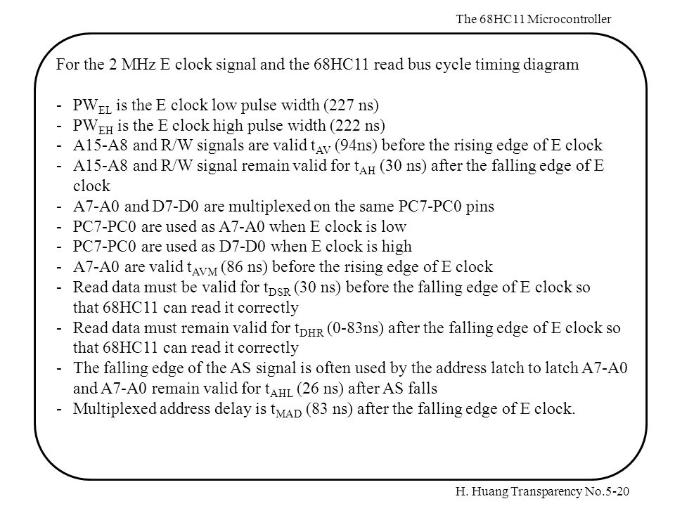 H. Huang Transparency No.5-20 The 68HC11 Microcontroller For the 2 MHz E clock signal and the 68HC11 read bus cycle timing diagram -PW EL is the E clo
