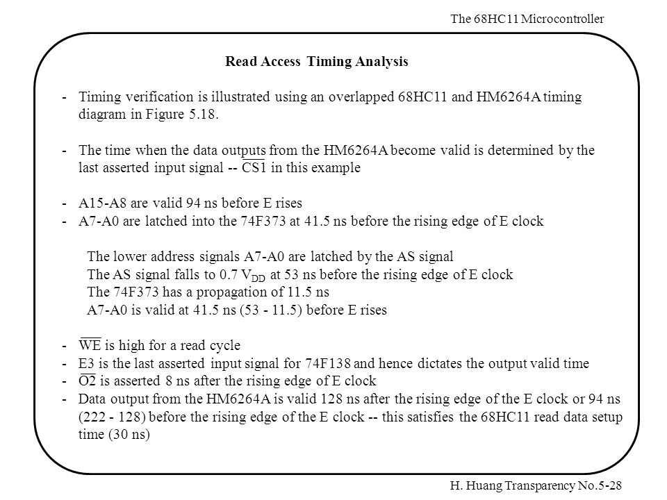 H. Huang Transparency No.5-28 The 68HC11 Microcontroller Read Access Timing Analysis -Timing verification is illustrated using an overlapped 68HC11 an
