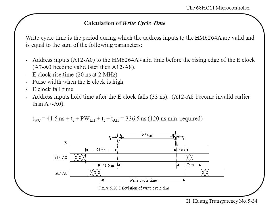 H. Huang Transparency No.5-34 The 68HC11 Microcontroller Calculation of Write Cycle Time Write cycle time is the period during which the address input