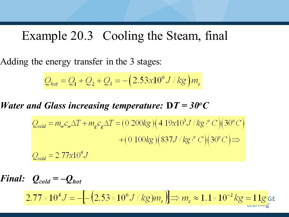 Example 20.3 Cooling the Steam, final Adding the energy transfer in the 3 stages: Water and Glass increasing temperature: DT = 30 o C Final: Q cold = –Q hot
