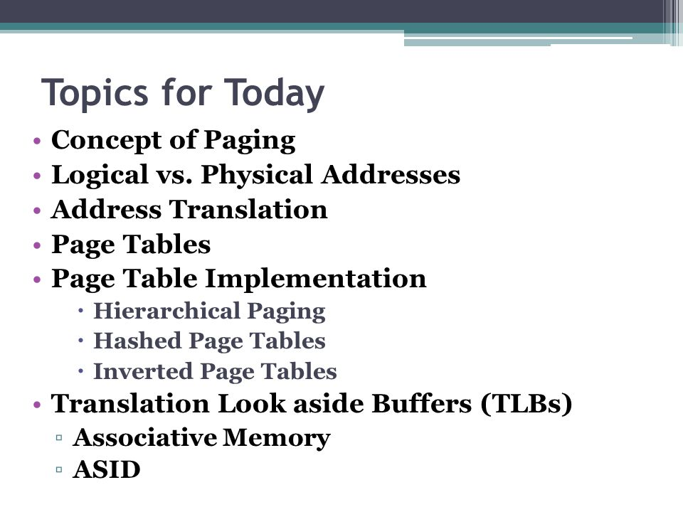 Topics for Today Concept of Paging Logical vs. Physical Addresses Address Translation Page Tables Page Table Implementation  Hierarchical Paging  Ha