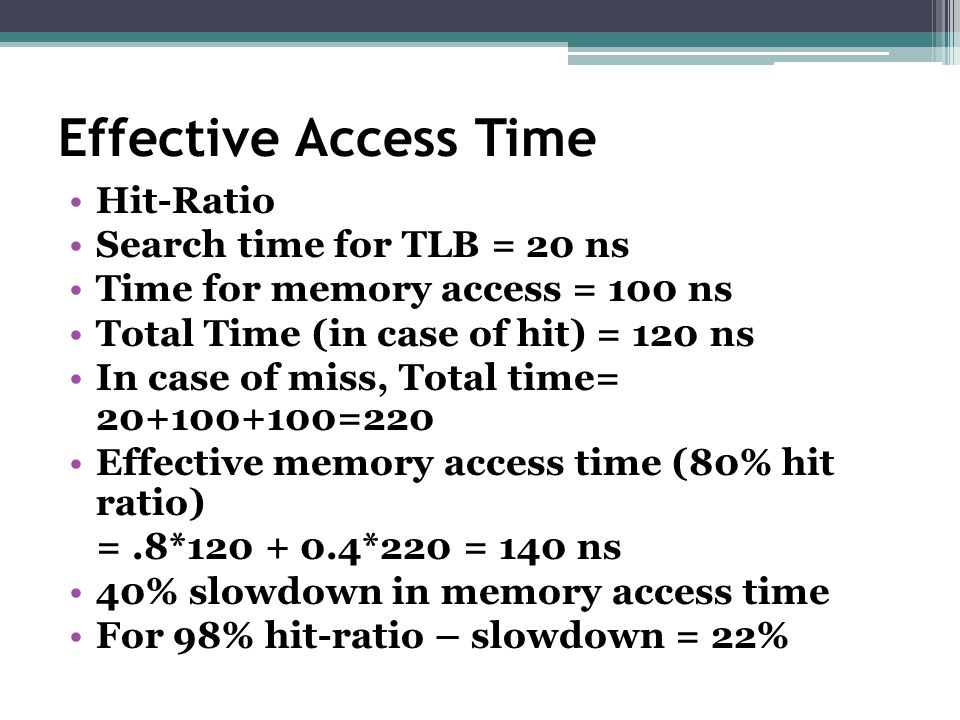 Effective Access Time Hit-Ratio Search time for TLB = 20 ns Time for memory access = 100 ns Total Time (in case of hit) = 120 ns In case of miss, Tota