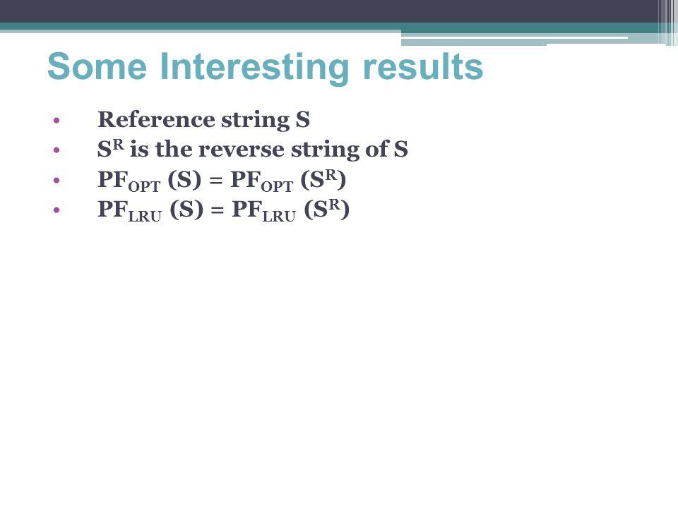 Some Interesting results Reference string S S R is the reverse string of S PF OPT (S) = PF OPT (S R ) PF LRU (S) = PF LRU (S R )