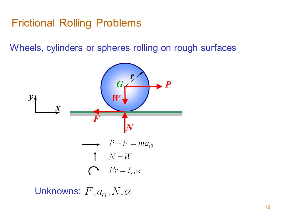 19 Frictional Rolling Problems Wheels, cylinders or spheres rolling on rough surfaces P W N F G r x y Unknowns: