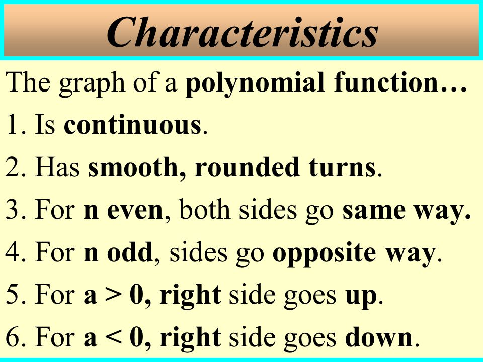 The graph of a polynomial function… 1.Is continuous.