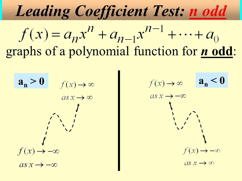 . a n < 0 graphs of a polynomial function for n odd: Leading Coefficient Test: n odd a n > 0
