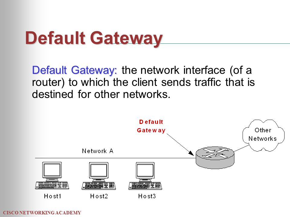 CISCO NETWORKING ACADEMY Default Gateway Default Gateway: Default Gateway: the network interface (of a router) to which the client sends traffic that is destined for other networks.
