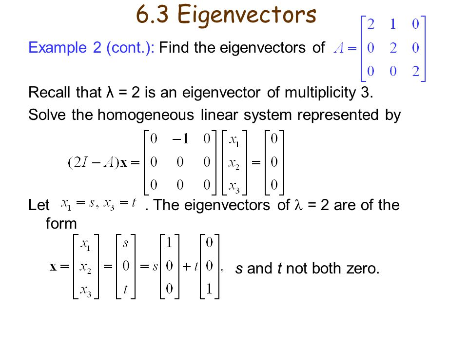 Example 2 (cont.): Find the eigenvectors of Recall that λ = 2 is an eigenvector of multiplicity 3. Solve the homogeneous linear system represented by