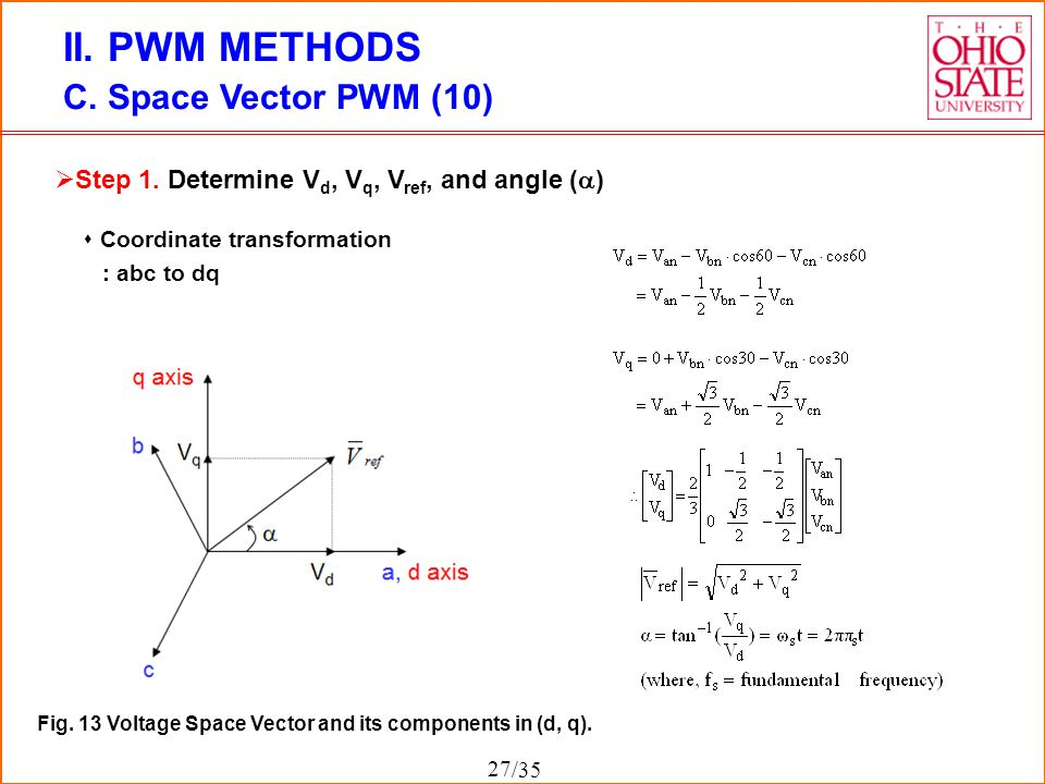 /35 II. PWM METHODS C. Space Vector PWM (10) Fig. 13 Voltage Space Vector and its components in (d, q).  Step 1. Determine V d, V q, V ref, and angle