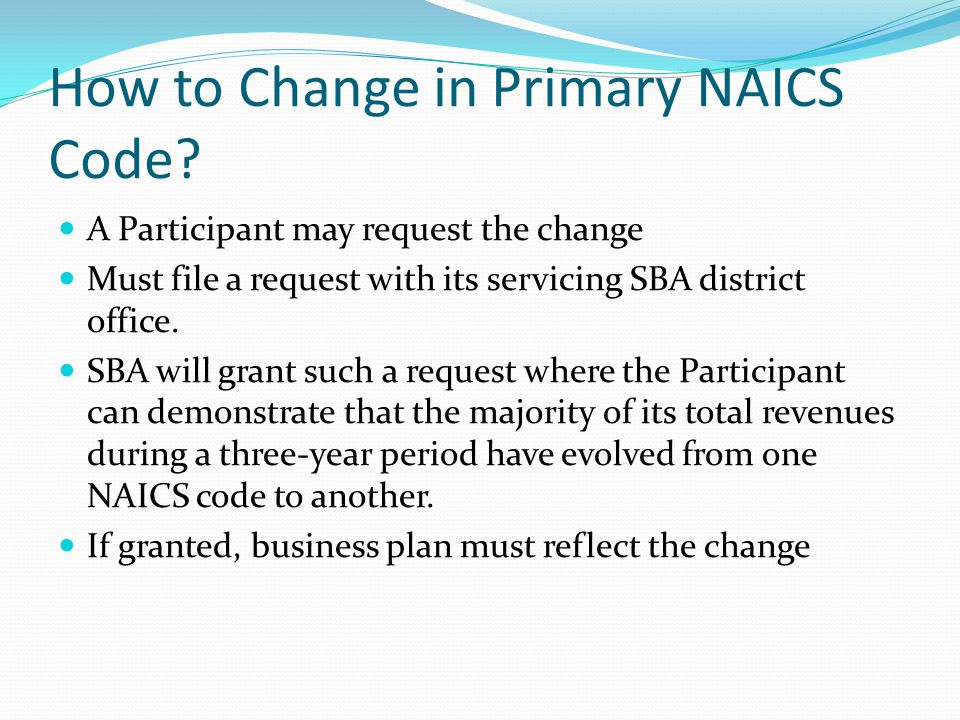 How to Change in Primary NAICS Code.