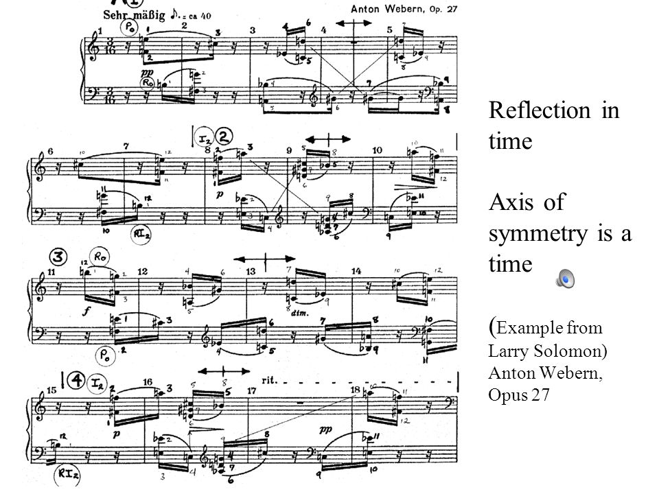 Symmetry as a compositional element From Larry Solomon's Symmetry as a compositional element -- last phrase of Bartok's Music for Strings, Percussion and Celesta, movement I Reflection symmetry in tones --- axis of symmetry is an A microcosmos vol 6 141 Free variations