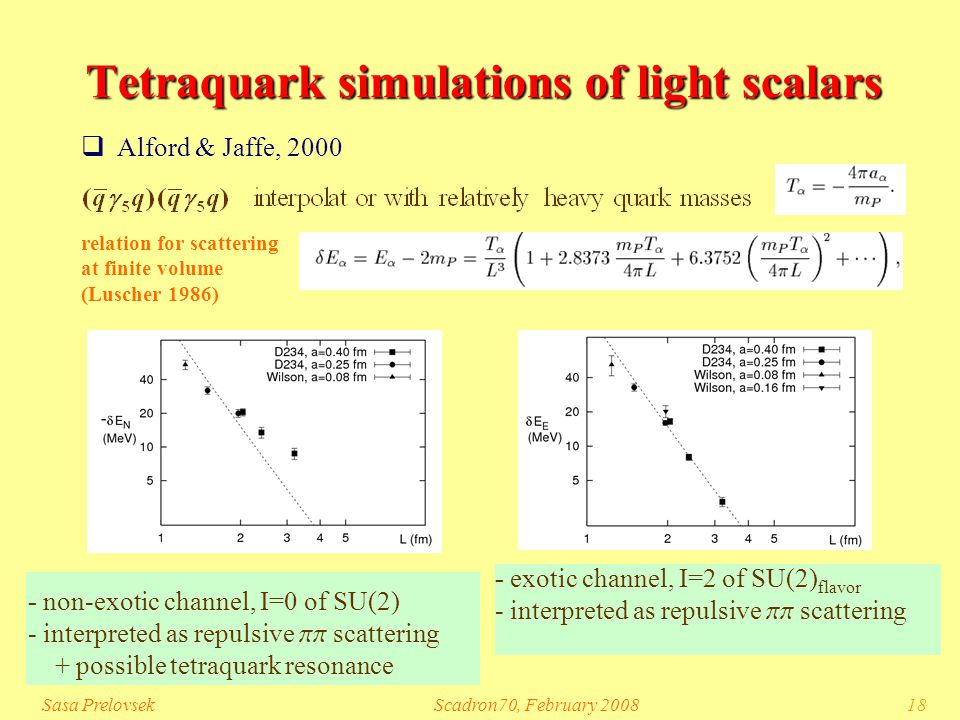 Sasa PrelovsekScadron70, February 200818 Tetraquark simulations of light scalars  Alford & Jaffe, 2000 - exotic channel, I=2 of SU(2) flavor - interpreted as repulsive pp scattering relation for scattering at finite volume (Luscher 1986) - non-exotic channel, I=0 of SU(2) - interpreted as repulsive pp scattering + possible tetraquark resonance