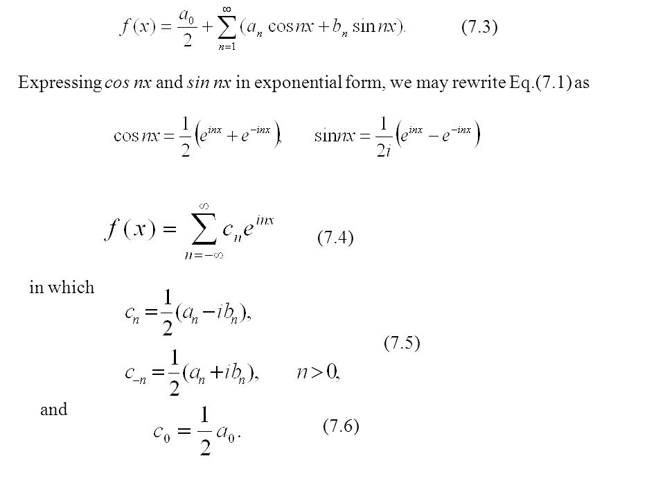 Expressing cos nx and sin nx in exponential form, we may rewrite Eq.(7.1) as (7.4) in which (7.5) and (7.6) (7.3)