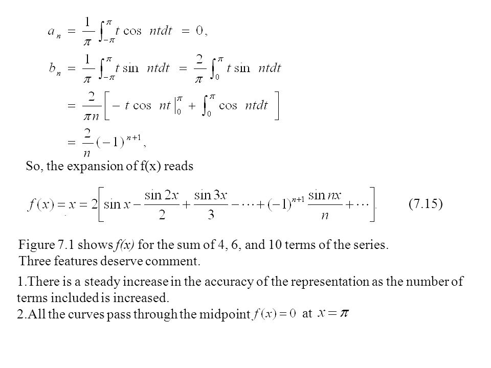 So, the expansion of f(x) reads (7.15) Figure 7.1 shows f(x) for the sum of 4, 6, and 10 terms of the series.
