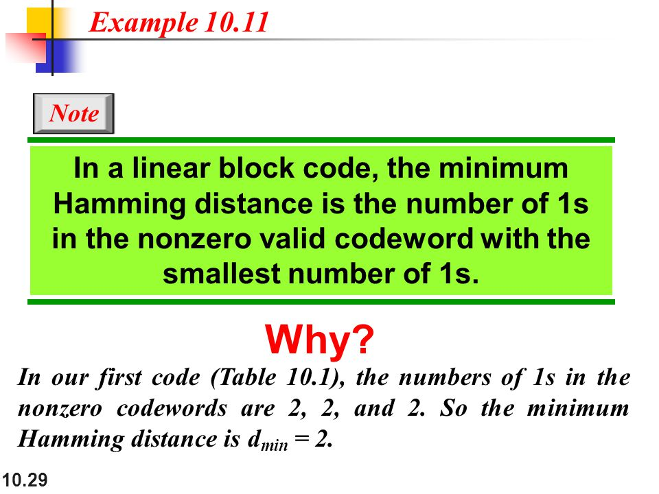 10.29 In our first code (Table 10.1), the numbers of 1s in the nonzero codewords are 2, 2, and 2.