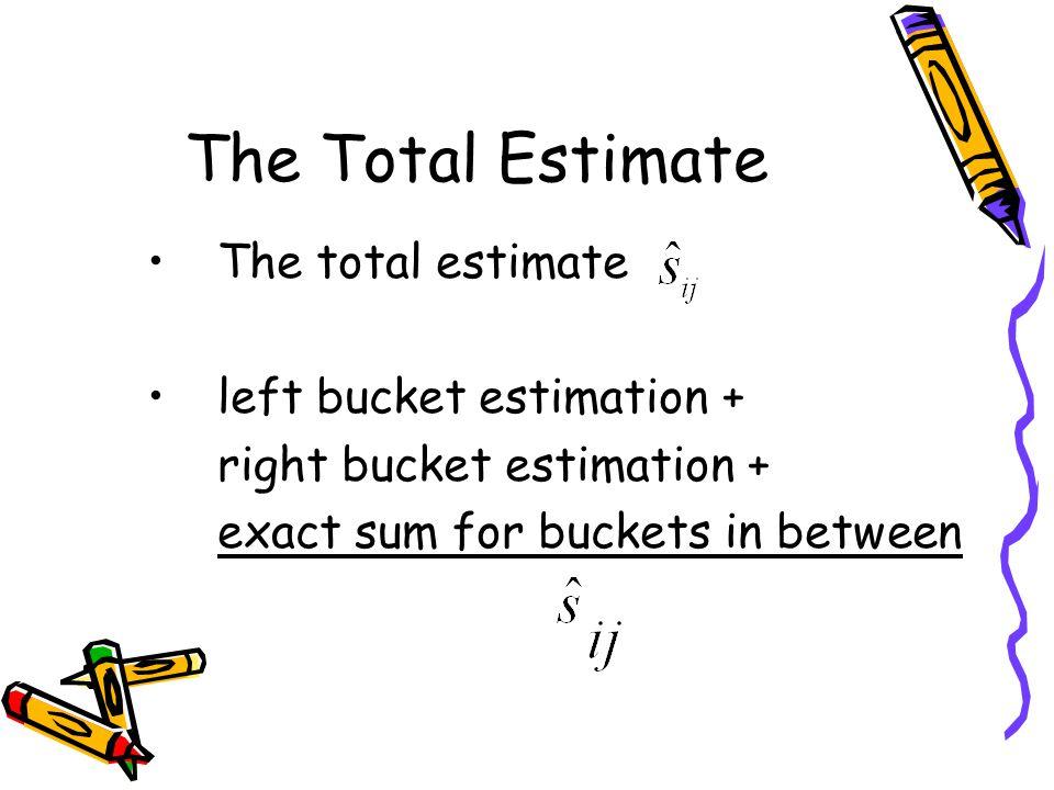 The Total Estimate The total estimate left bucket estimation + right bucket estimation + exact sum for buckets in between