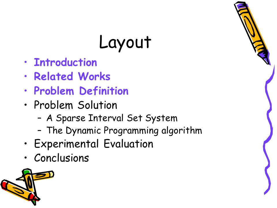 Layout Introduction Related Works Problem Definition Problem Solution –A Sparse Interval Set System –The Dynamic Programming algorithm Experimental Ev