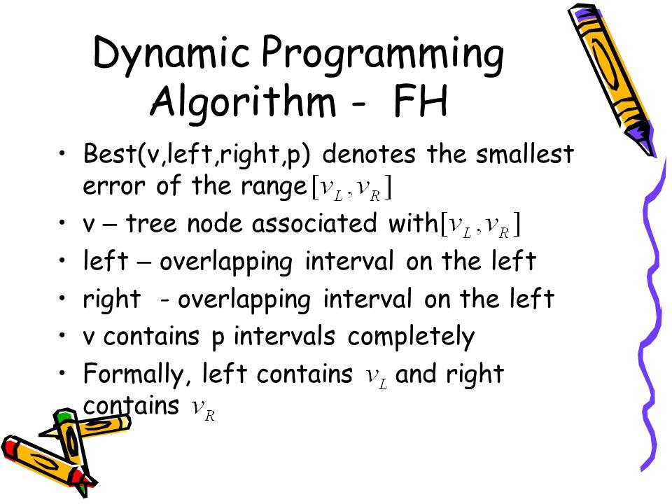 Dynamic Programming Algorithm - FH Best(v,left,right,p) denotes the smallest error of the range v – tree node associated with left – overlapping inter
