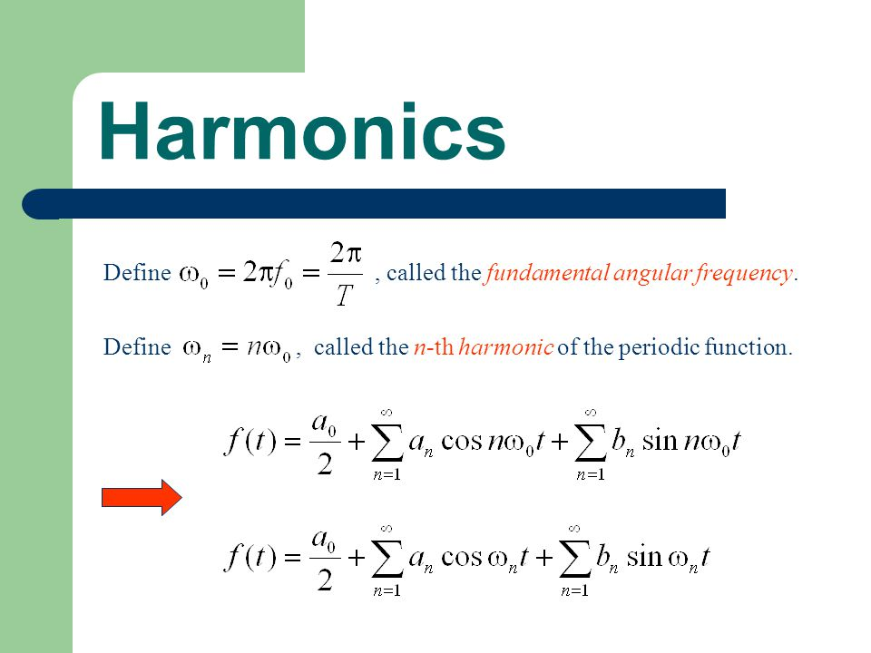 Harmonics Define, called the fundamental angular frequency. Define, called the n-th harmonic of the periodic function.