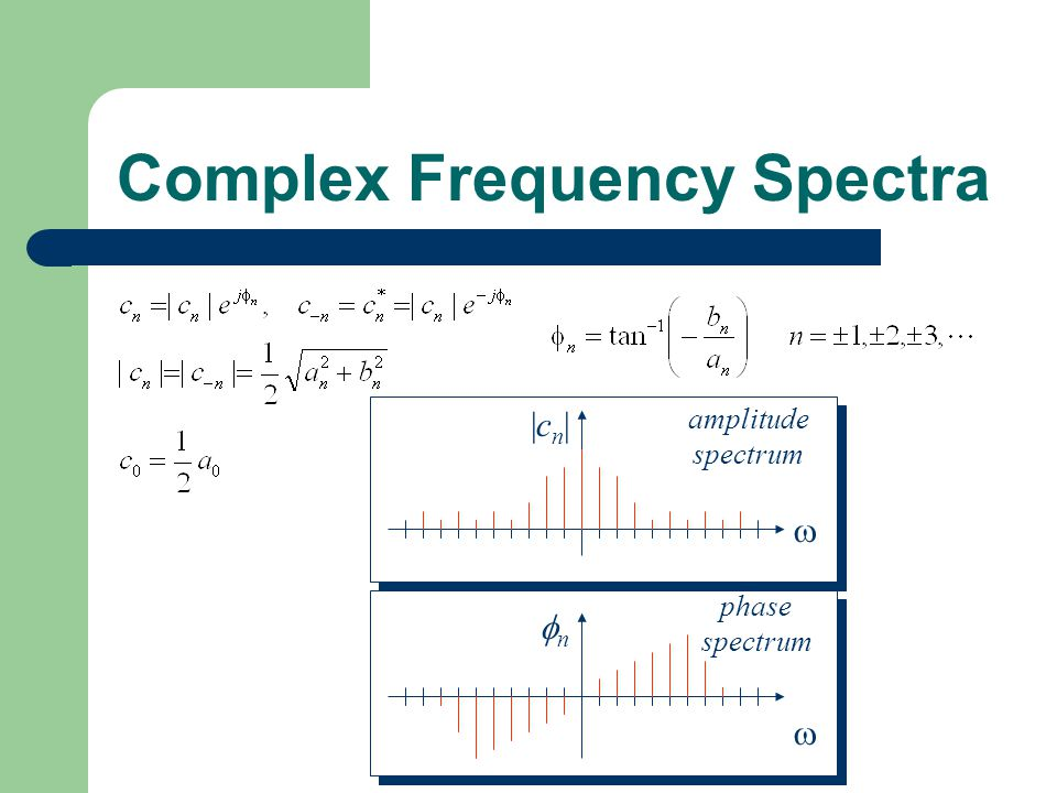 Complex Frequency Spectra |cn||cn|  amplitude spectrum nn  phase spectrum