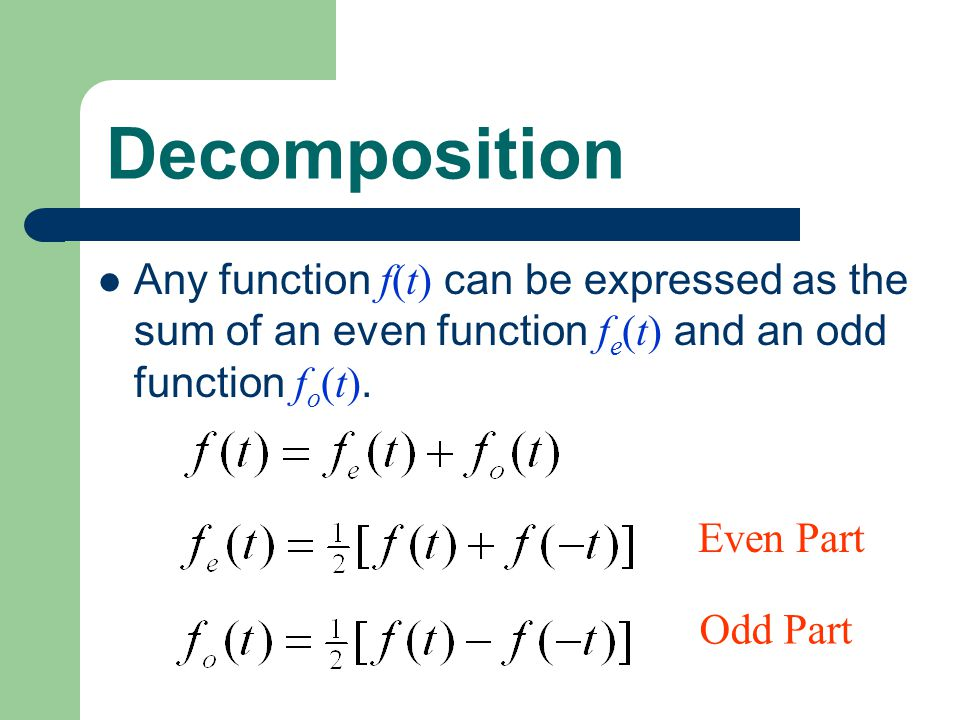 Decomposition Any function f(t) can be expressed as the sum of an even function f e (t) and an odd function f o (t). Even Part Odd Part