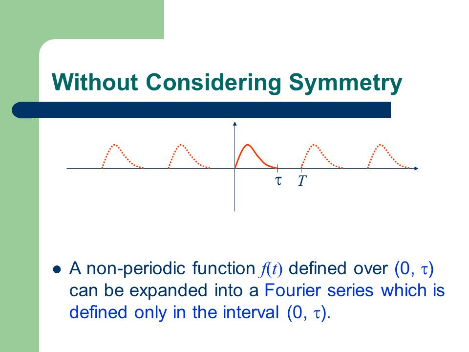 Without Considering Symmetry A non-periodic function f(t) defined over (0,  ) can be expanded into a Fourier series which is defined only in the inte