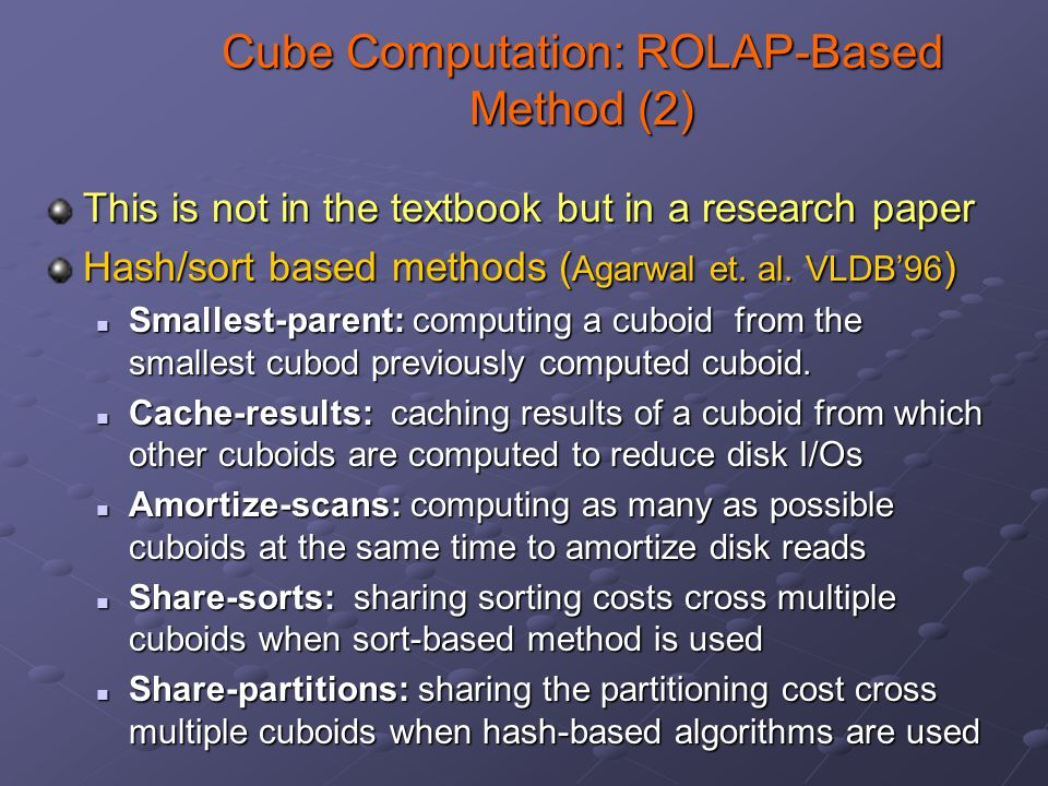 Cube Computation: ROLAP-Based Method (2) This is not in the textbook but in a research paper Hash/sort based methods ( Agarwal et.