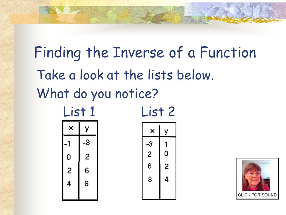 Here are some links to interactive pages about inverses.