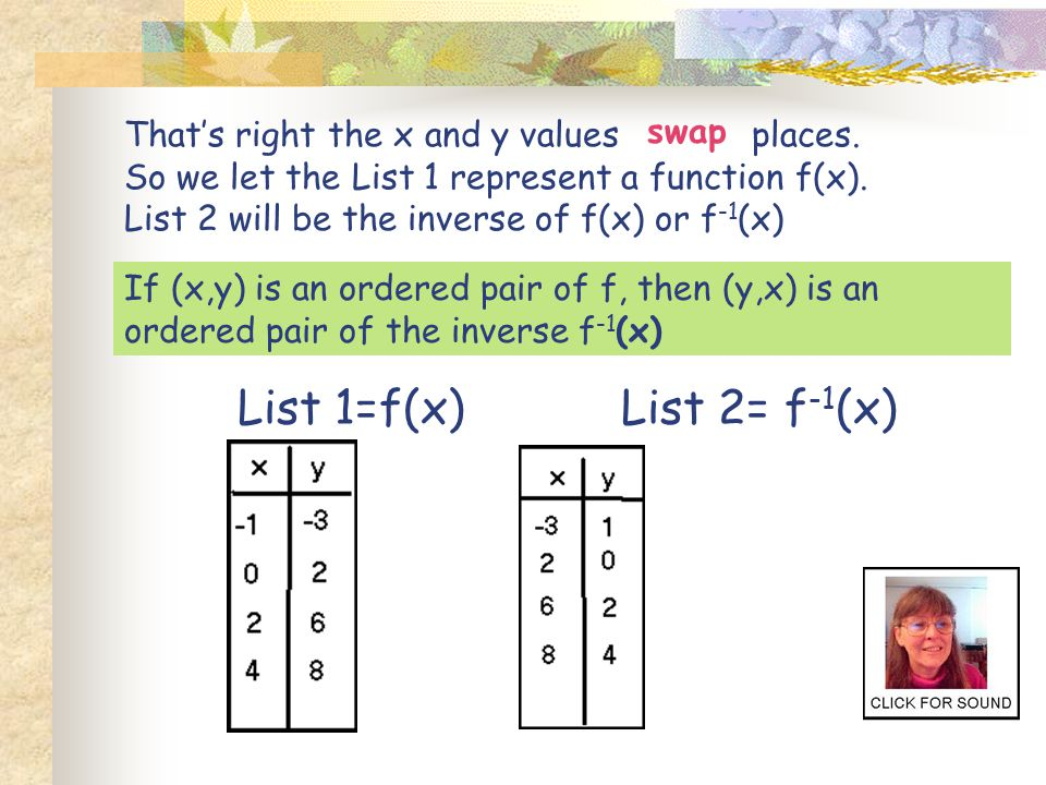 That's right the x and y values places.So we let the List 1 represent a function f(x).