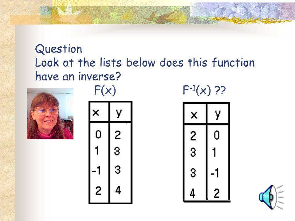 Question Look at the lists below does this function have an inverse? F(x)F -1 (x) ??