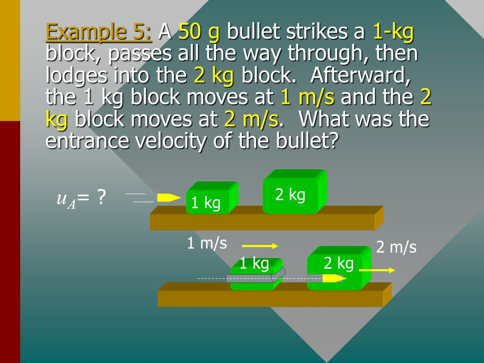 Example 4. An 87-kg skater B collides with a 22-kg skater A initially at rest on ice. They move together after the collision at 2.4 m/s. Find the velo