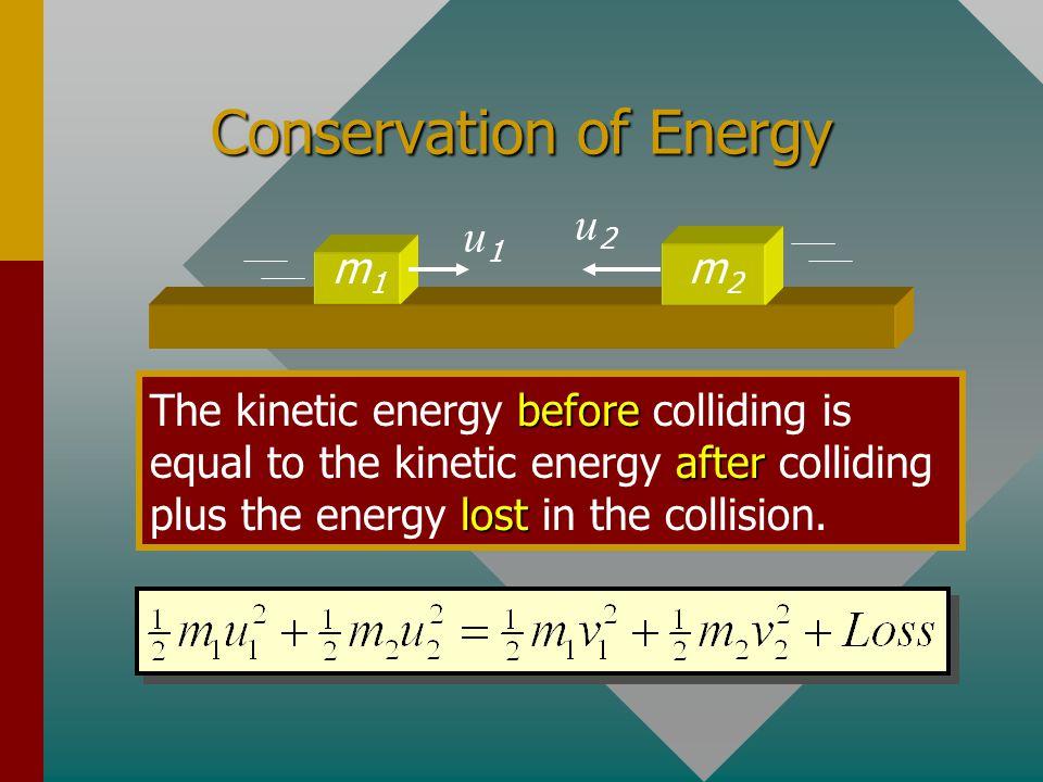 A Collision of Two Blocks m1m1 Bm2m2 u = Before v = After m1m1 u1u1 m2m2 u2u2 Before m2m2 v2v2 m1m1 v1v1After Collision