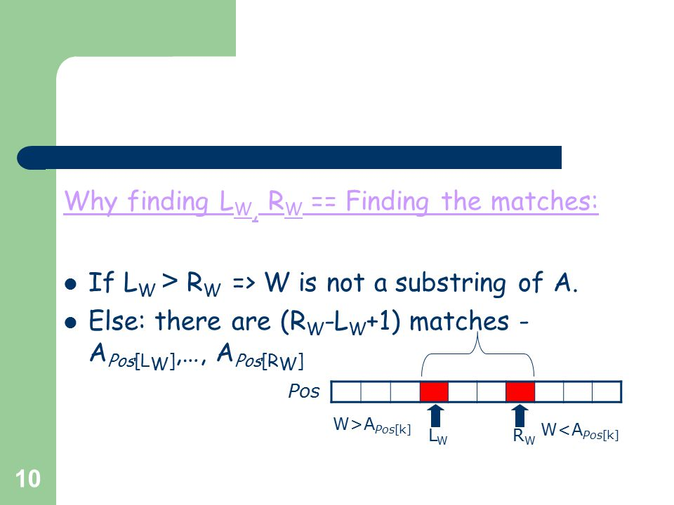 10 Why finding L W, R W == Finding the matches: If L W > R W => W is not a substring of A. Else: there are (R W -L W +1) matches - A Pos[L W ],…, A Po