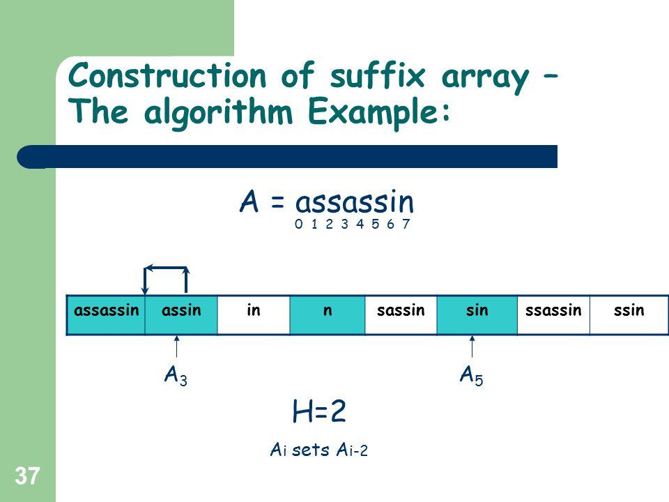 37 Construction of suffix array – The algorithm Example: assassinassininnsassinsinssassinssin H=2 A = assassin 01234567 A5A5 A3A3 A i sets A i-2