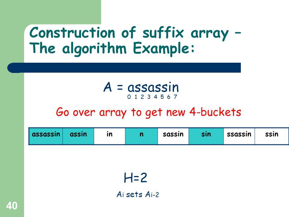 40 Construction of suffix array – The algorithm Example: assassinassininnsassinsinssassinssin H=2 A = assassin 01234567 Go over array to get new 4-buckets A i sets A i-2