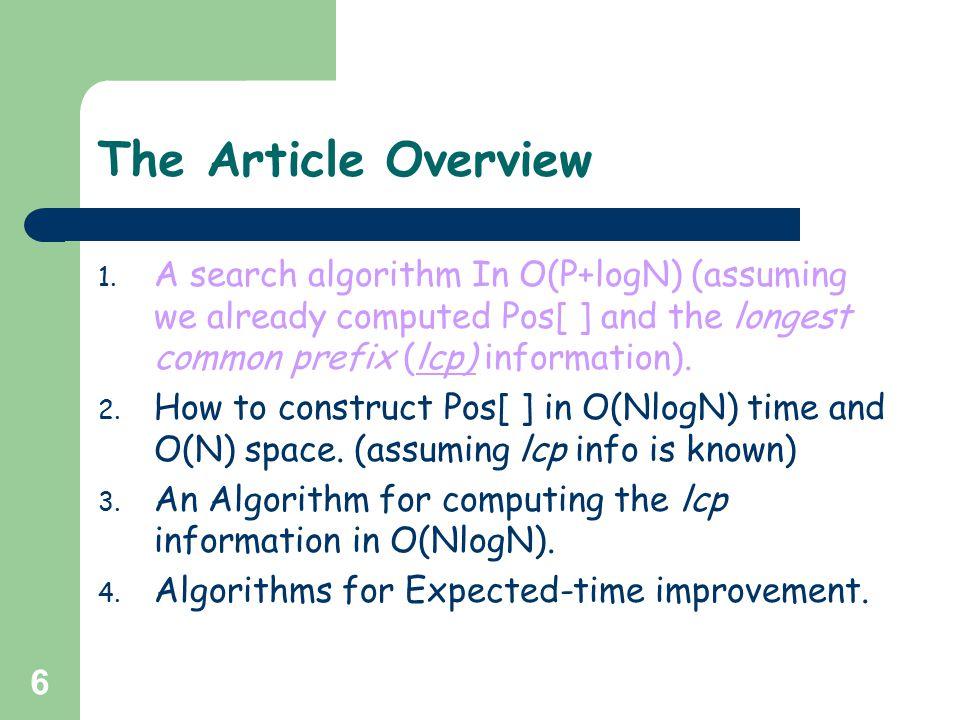 7 The Search algorithm - Definitions For any string u, u p = u 1 u 2 u 3…….
