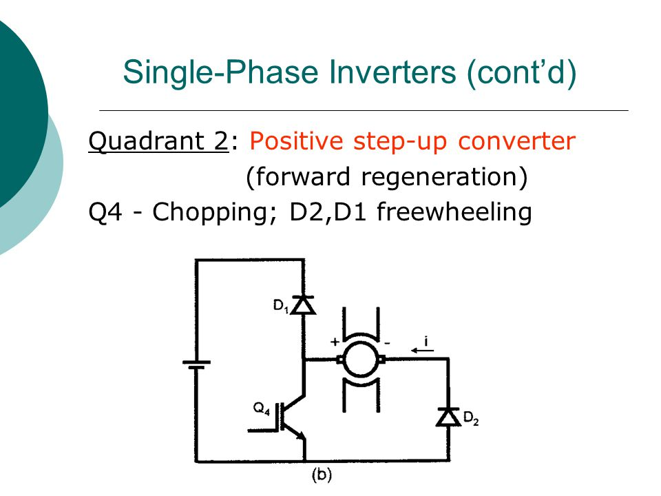 Single-Phase Inverters (cont'd) Quadrant 2: Positive step-up converter (forward regeneration) Q4 - Chopping; D2,D1 freewheeling