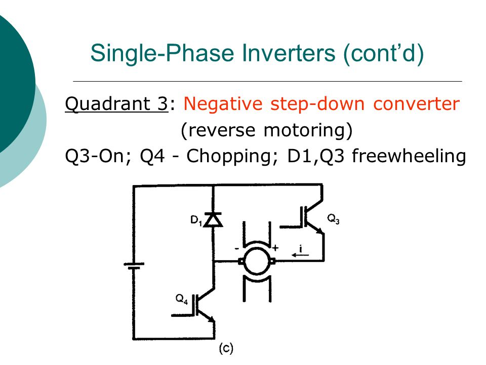 Single-Phase Inverters (cont'd) Quadrant 3: Negative step-down converter (reverse motoring) Q3-On; Q4 - Chopping; D1,Q3 freewheeling