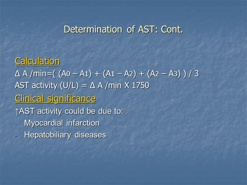 Determination of AST: Cont.