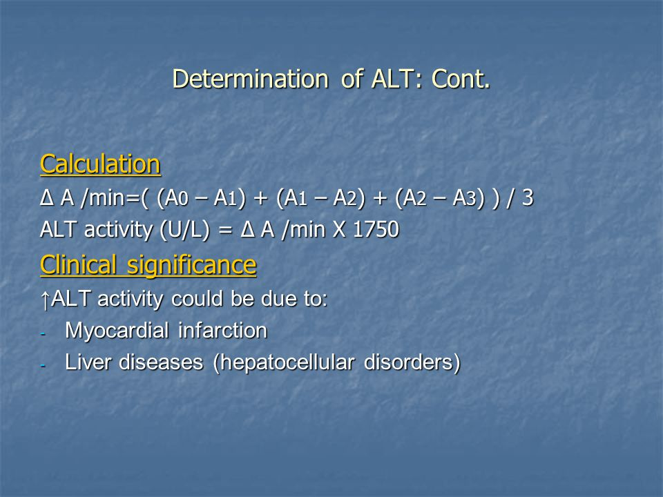 Determination of ALT: Cont.