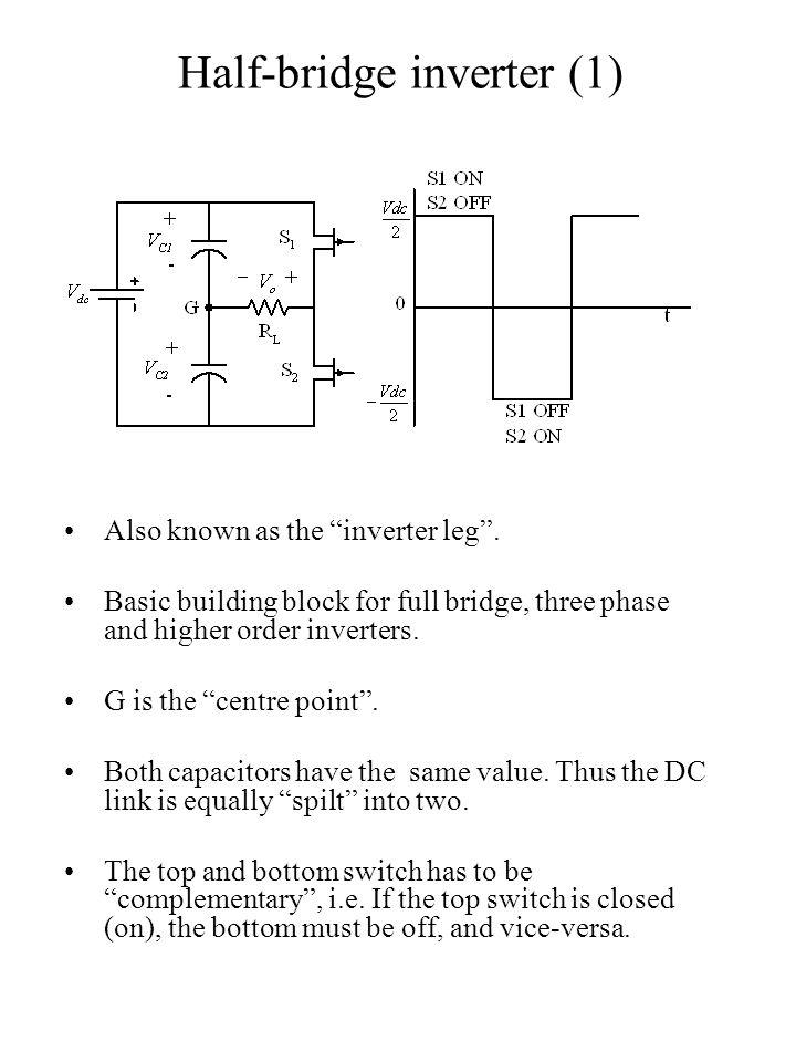 "Half-bridge inverter (1) Also known as the ""inverter leg"". Basic building block for full bridge, three phase and higher order inverters. G is the ""cen"