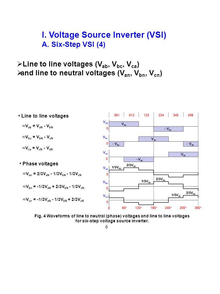 I. Voltage Source Inverter (VSI) A. Six-Step VSI (4) Fig. 4 Waveforms of line to neutral (phase) voltages and line to line voltages for six-step volta