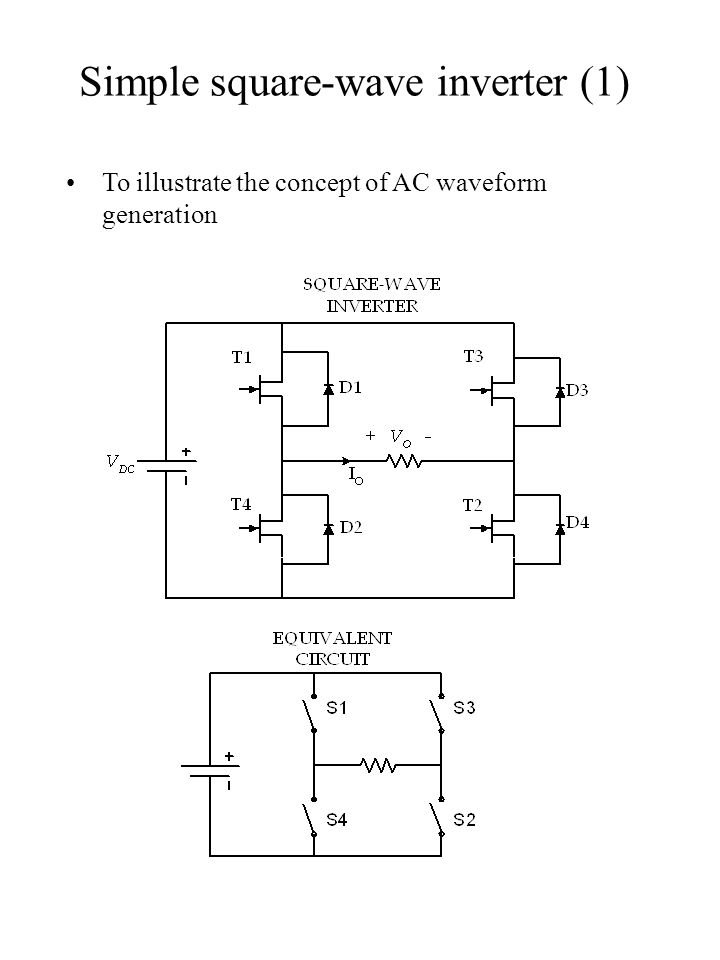 Simple square-wave inverter (1) To illustrate the concept of AC waveform generation