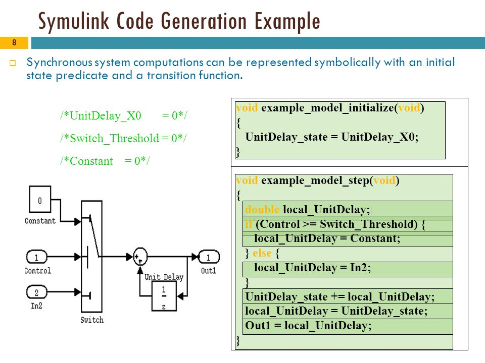 8 Symulink Code Generation Example  Synchronous system computations can be represented symbolically with an initial state predicate and a transition function.